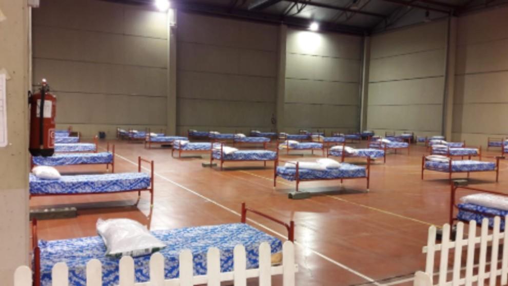 Recinto Ferial de Aranda de Duero convertido en hospital de campaña.
