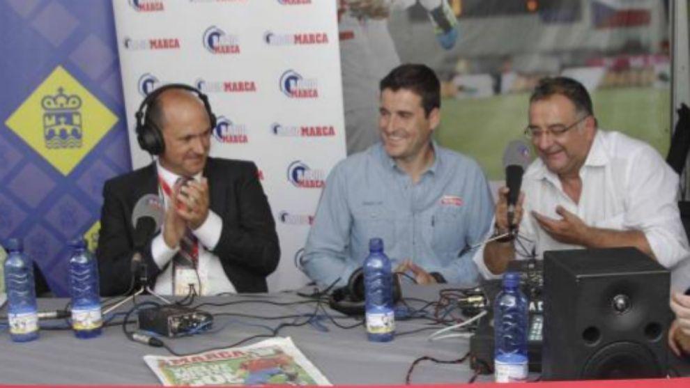 Rafael Louzán junto a David Cal y Roberto Gómez en un programa de...