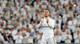 Hazard, en un partido en el Bernabéu.