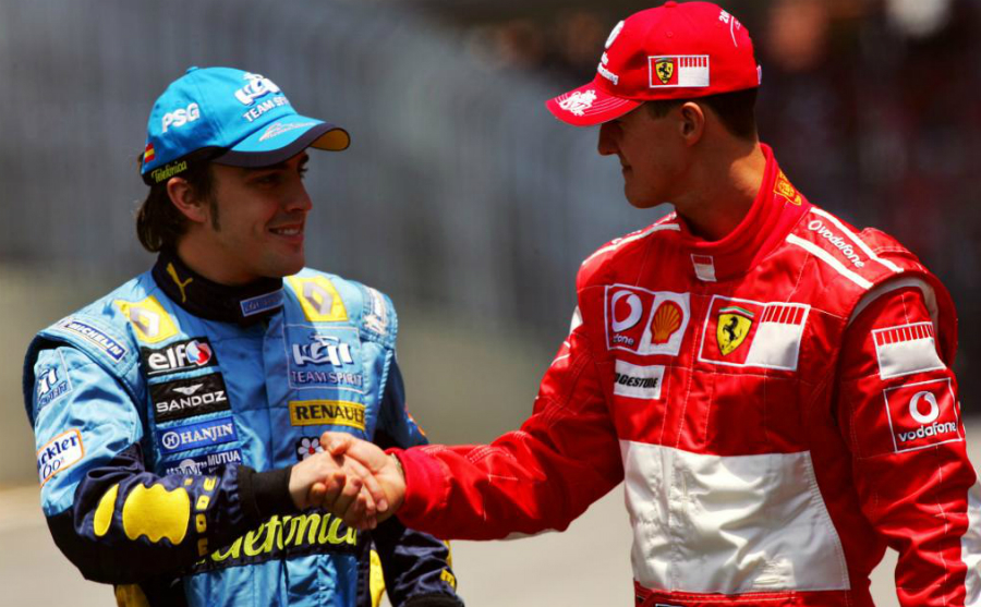 Schumacher shaking hands with Alonso.