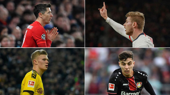 Lewandowski, Haaland, Werner y Havertz.