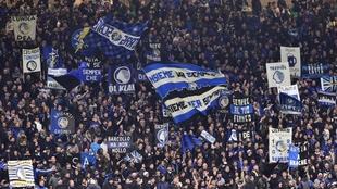 Imagen de la grada de San Siro durante el partido.