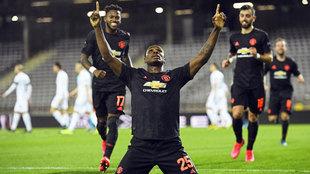 Ighalo celebra uno de sus goles con el United.