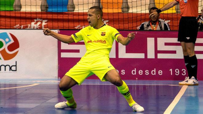 Ferrao celebra un gol con el Barça la pasada campaña.