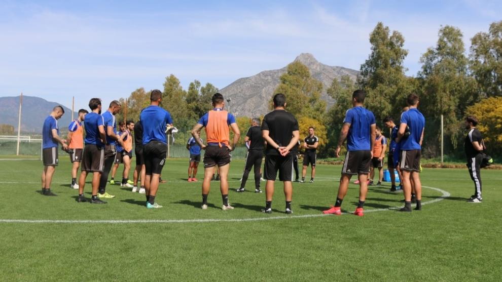 Imagen de un entrenamiento del Marbella