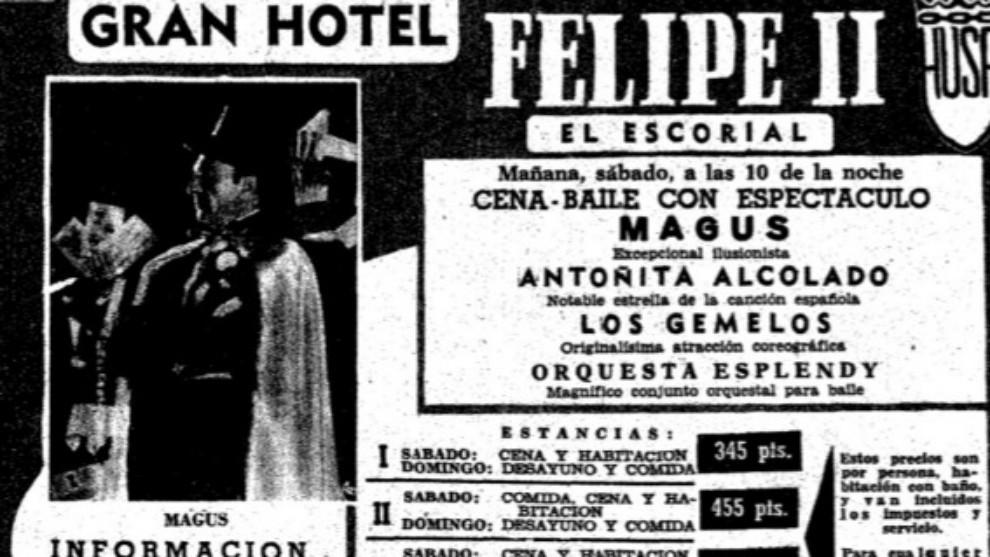 José González Delgado, Magus, actúa en El Escorial. 1961