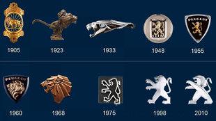 Imagen de los logos que han lucido los coches de Peugeot desde 1905.