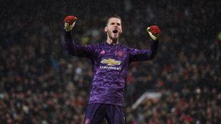David de Gea celebra la victoria del Manchester United sobre el City...