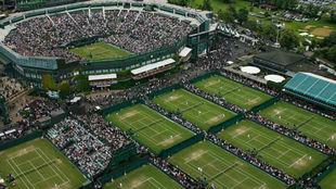 Una vista aérea de las pistas del All England Club