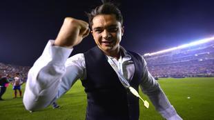 Alberto Marrero celebra el ascenso del Atlético San Luis.