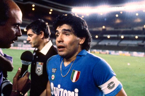 Maradona tras un partido con el Nápoles en la temporada 87/88