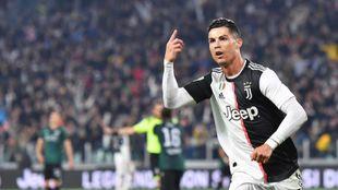 Cristiano Ronaldo celebra un gol frente al Bolonia.