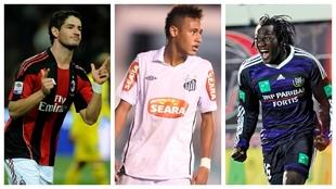Pato, Neymar y Lukaku, en 2010 con Milan, Santos y Anderlecht,...