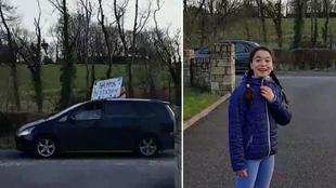 A la izquierda, uno de los amigos con un cartel de 'Feliz...