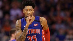 Christian Wood, en un partido con los Pistons.