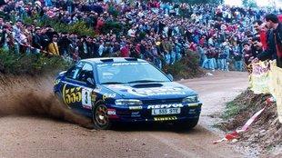 Sainz y Moya, camino de ganar el Rally de Portugal del 95 con un...