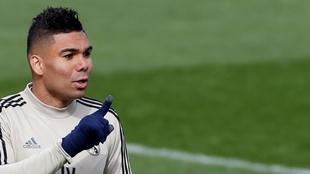 Casemiro, durante un entrenamiento del Madrid en Valdebebas.