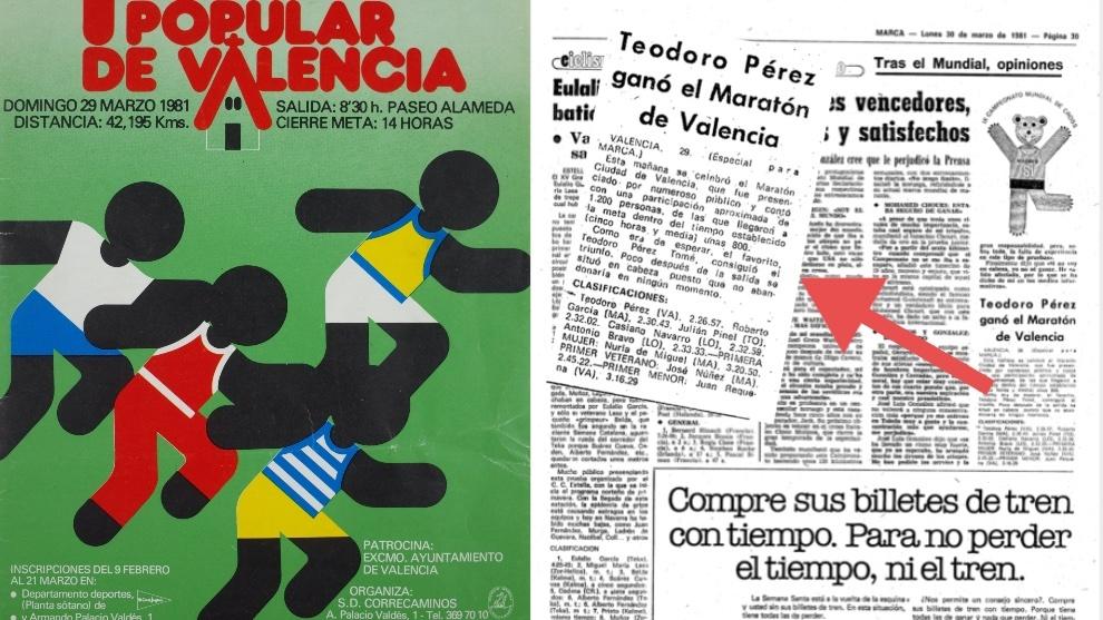 Cartel del I Maratón y página de MARCA del 30-3-1981 donde se...