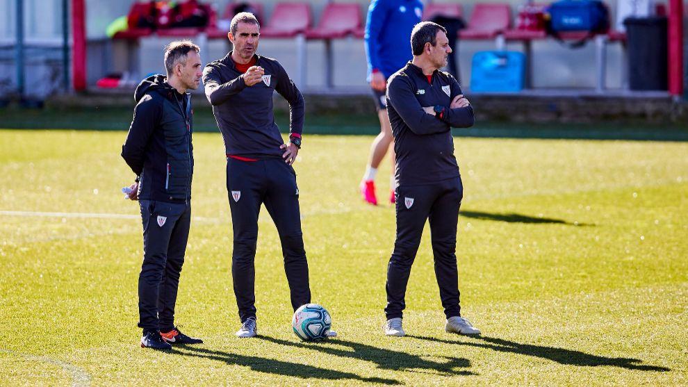Garitano, Ferreira e Iglesias en uno de los últimos entrenamientos en...