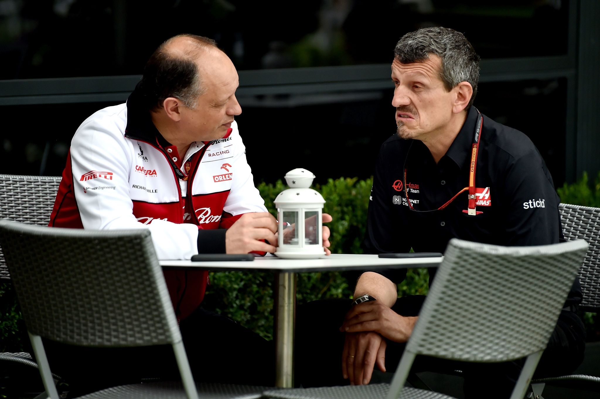 Alfa Romeo Racing Team Principal Frederic lt;HIT gt;Vasseur lt;/HIT gt; (L) and Haas F1 Team Principal Guenther Steiner talk outside the booth before the first practice session for Formula One Australian Grand Prix in Melbourne on March 13, 2020. - The season-opening Australian Grand Prix was cancelled just hours before the action was due to start over fears about the spread of coronavirus after a McLaren team member tested positive. (Photo by Peter PARKS / AFP) / -- IMAGE RESTRICTED TO EDITORIAL USE - STRICTLY NO COMMERCIAL USE --