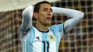 Di Maria se lamenta por una ocasión fallada con Argentina.