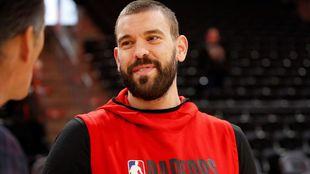 Marc Gasol, en un calentamiento con los Raptors.