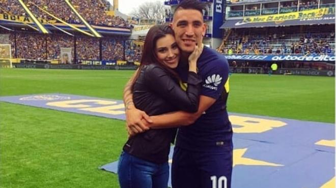 Centurión y Melody cuando jugaba para Boca Juniors.