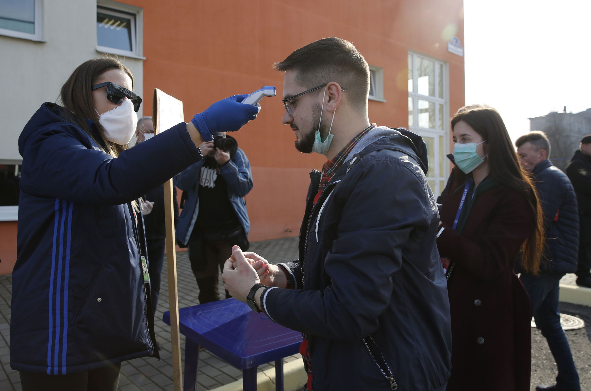 Minsk ( lt;HIT gt;Belarus lt;/HIT gt;), 28/03/2020.- Fans are checked, if they have high body temperature, at the entrance to a stadium prior the Belarusian Premier League soccer match between FC Minsk and FC Dinamo-Minsk in Minsk, lt;HIT gt;Belarus lt;/HIT gt;, 28 March 2020. lt;HIT gt;Belarus lt;/HIT gt; didnt suspend soccer games, as most of European countries did because of coronavirus COVID19 pandemic. lt;HIT gt;Belarus lt;/HIT gt; plans to hold all soccer matches, as scheduled, local media reports. (Bielorrusia) EFE/EPA/TATYANA ZENKOVICH