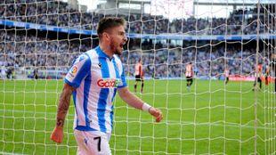 Portu celebra con rabia su gol al Athletic de Bilbao.