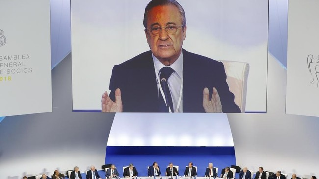 Florentino Pérez durante la pasada asamblea del Real Madrid.