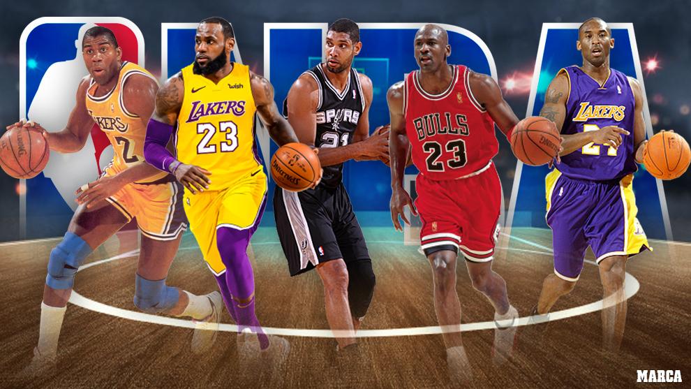 Montaje con algunos de los jugadores del mejor quinteto de la historia