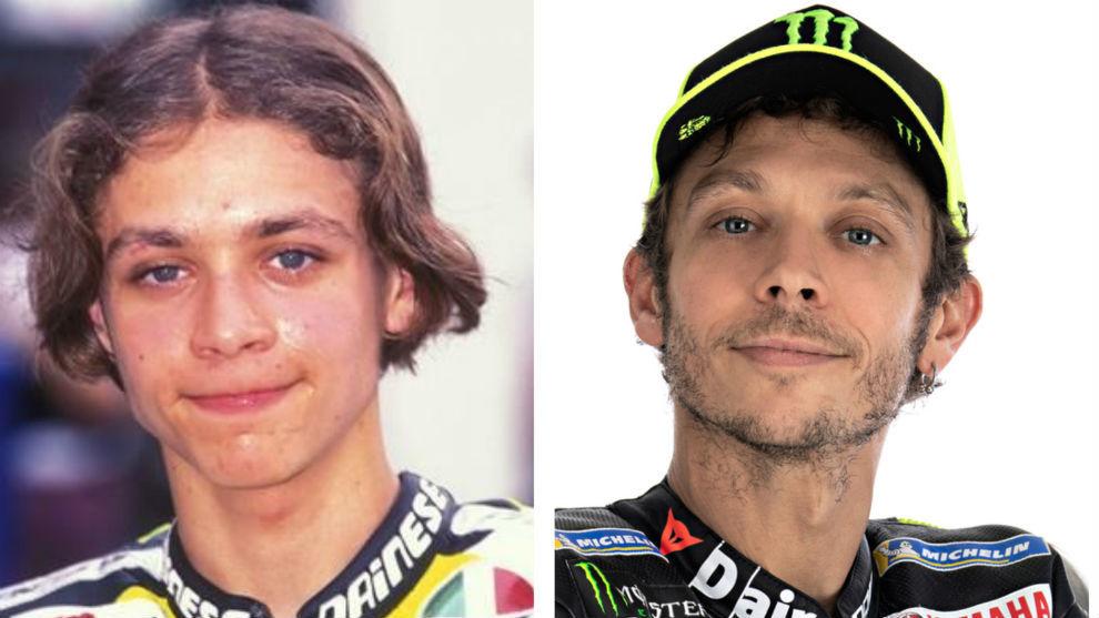 Rossi, en 1996 y 2020.