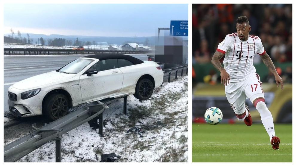 A la izquierda, el coche accidentado. A la derecha, Boateng.