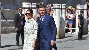 David y Victoria Beckham, durante la boda de Sergio Ramos en Sevilla.