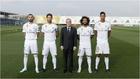 Florentino Pérez con los cuatro capitanes del Real Madrid.
