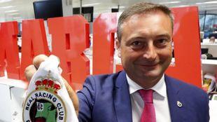 El presidente Alfredo Pérez en su visita a la redacción de Marca el...