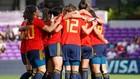 Las jugadoras de la selección española celebran un gol en la 'She...