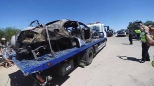 Imagen del coche de José Antonio Reyes siniestrado.