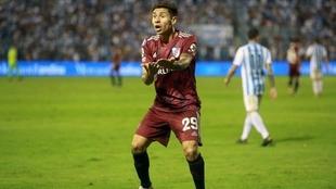 Montiel durante un partido de la SúperLiga Argentina.