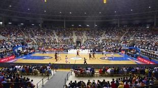 Aspecto del Coliseum de Burgos en un amistoso de la selección...