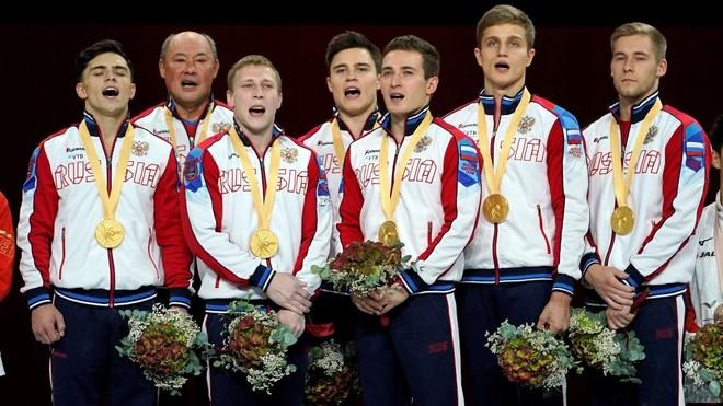 La selección masculina rusa de gimnasia, campeona del mundo en 2019.