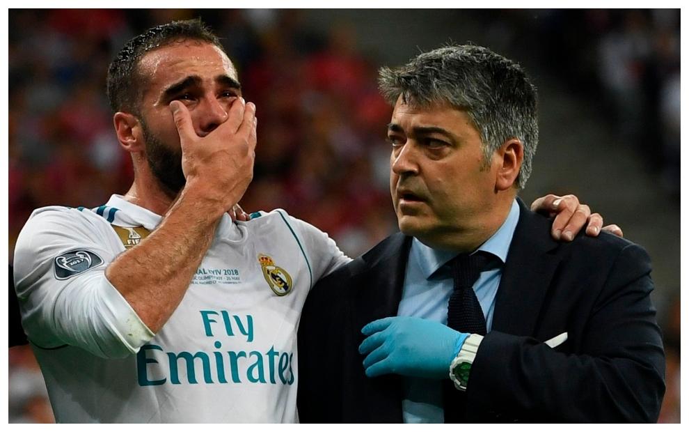Carvajal se retira llorando tras lesionarse en la final de KIev.