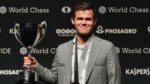 Magnus Carlsen cuando ganó el Mundial 2018.