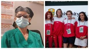 A la izquierda, Griselda González durante su trabajo en el Hospital...