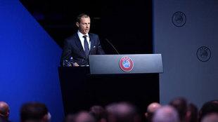 Ceferin, en el Congreso de UEFA.