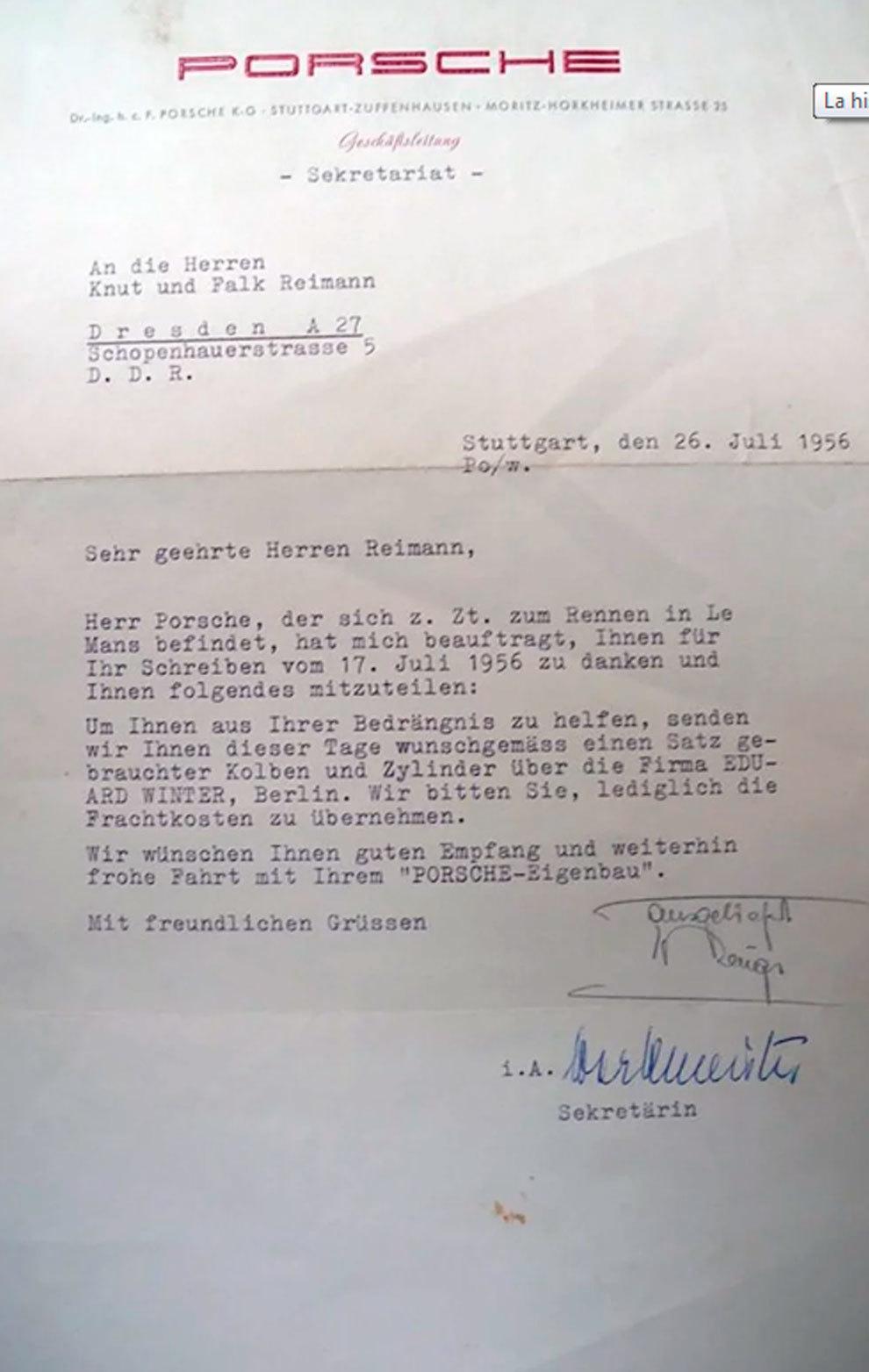 La carta que recibieron los hermanos Reimann les prometía piezas para el motor de su coche.