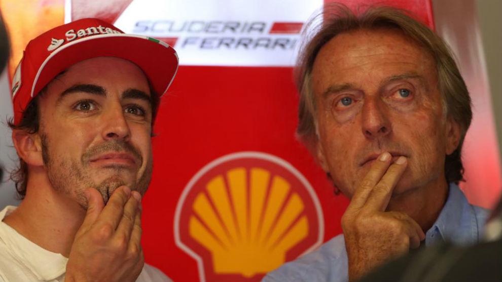Alonso y Di Montezemolo, en una imagen del GP de Italia de 2013.