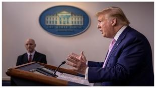 Donal Trump, en una rueda de prensa sobre la situación del COVID-19.