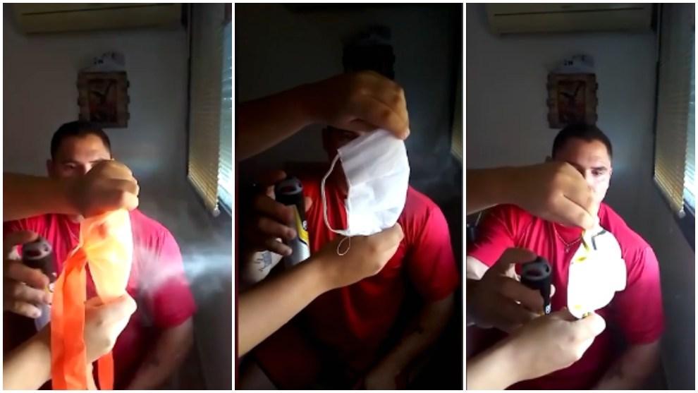 Una persona prueba varios tipos de mascarillas.