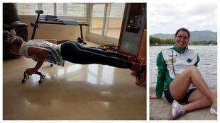 Paula Ruiz, entrena en casa en la imagen de la izquierda.